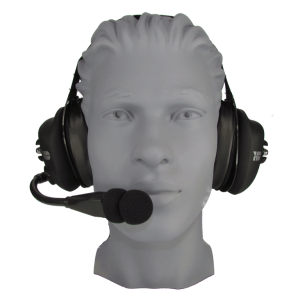 HD300-RBF Behind the Head Rubberized Electret Mic Headset with Flex Boom and PTT